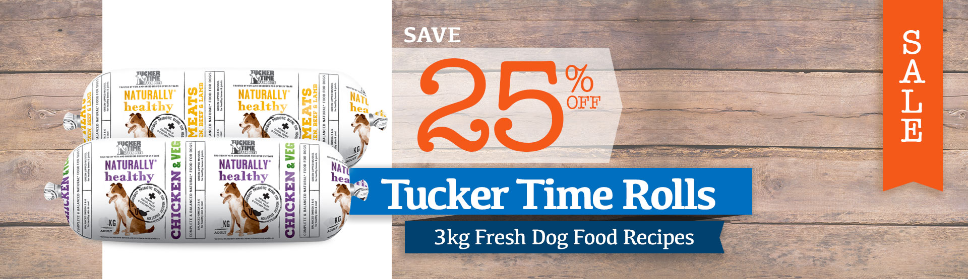 25% Off Tucker Time 3kg Dog Food Rolls