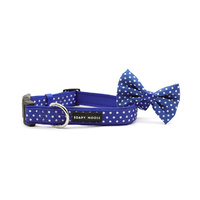 Soapy Moose Collar Neoprene Blue & White Dots Small with Bow