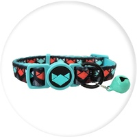 La Doggie Vita Cat Collar Adjustable Black/Cat Face W/Bell