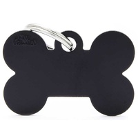 ID Tag Basic Large Bone Black