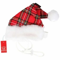 Santa Hat Red Tartan Puppia Large