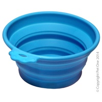 Silicone Travel Bowl Round Blue Small