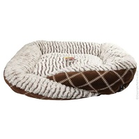 Cat Bed Round Brown Check/Stripe Lge
