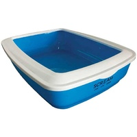 Litter Tray Rectangle with Rim Blue