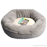 Oval Plush Basket Bed Grey