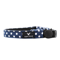 Soapy Moose Cat Collar Navy & White Polka Dots